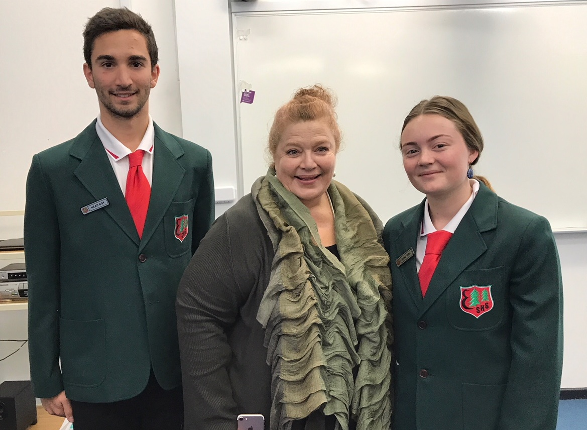 Head Girl and Boy with Minister for Education and Training